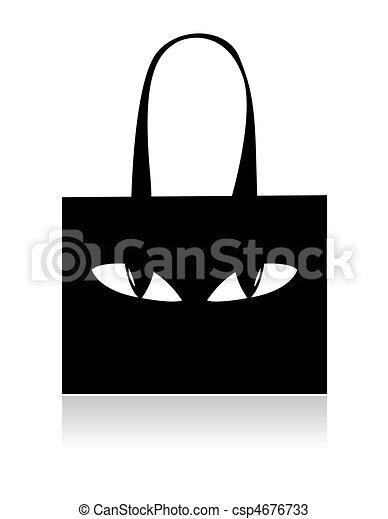 Funny black shopping bag with eyes - csp4676733
