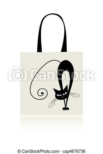 Black cat graceful, design of shopping bag - csp4676736