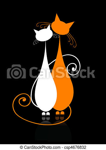 ?ouple cats sitting together, silhouette for your design - csp4676832