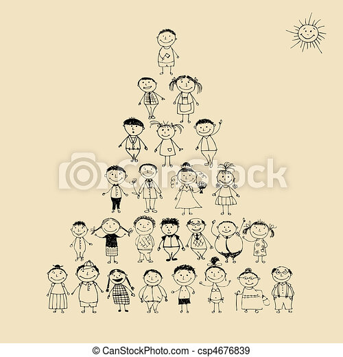 Funny pyramid with happy big family smiling together, drawing sketch - csp4676839