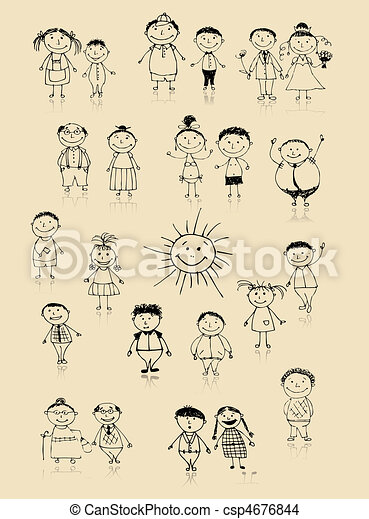 Happy big family smiling together, drawing sketch  - csp4676844