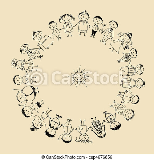 Happy big family smiling together, drawing sketch  - csp4676856