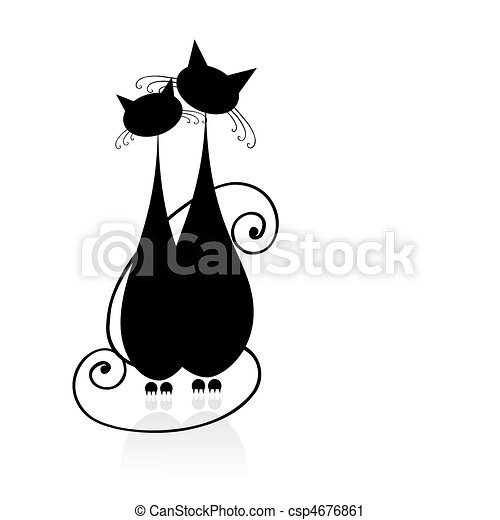 Couple cats sitting together, black silhouette for your design - csp4676861