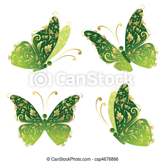 Green art butterfly flying, floral golden ornament - csp4676866