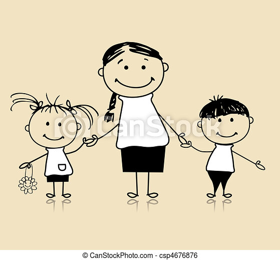 Happy family smiling together, mother and children, drawing sketch - csp4676876