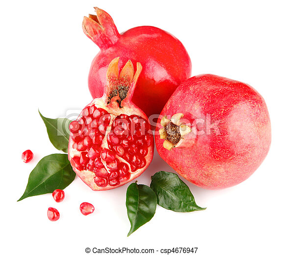pomegranate fresh fruits with green leaves - csp4676947