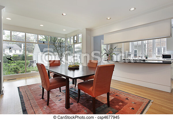 Dining room with wall of windows - csp4677945