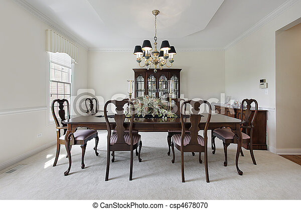 Dining room with white carpeting - csp4678070