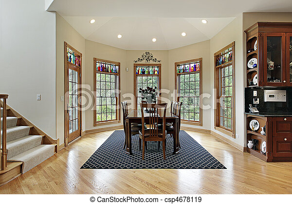 Breakfast room with wall of windows - csp4678119