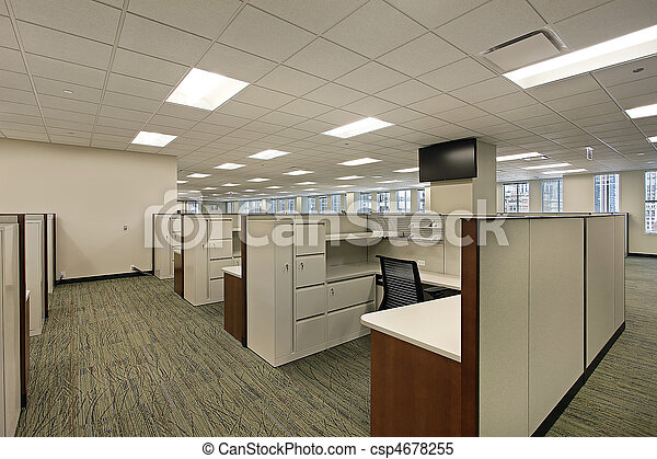 Cubicles in downtown office building - csp4678255
