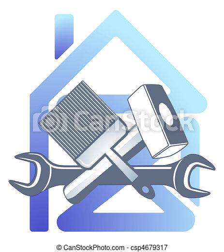 Hausbau clipart  Vektoren Illustration von haus, handwerker - haus, und, handwerker ...