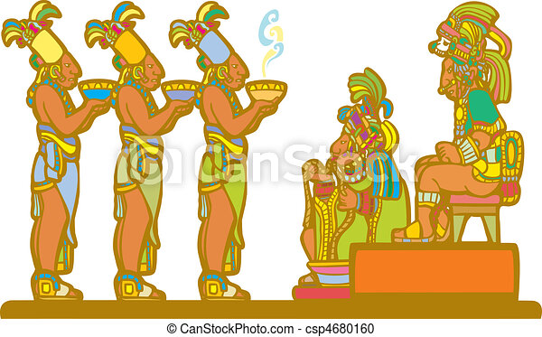 Mayan king and court receiving tribute derived from mayan temple ...