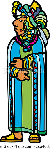 Standing Mayan in robe. - csp4680161