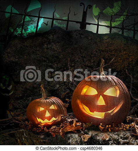 Halloween pumpkins on rocks  at night - csp4680346
