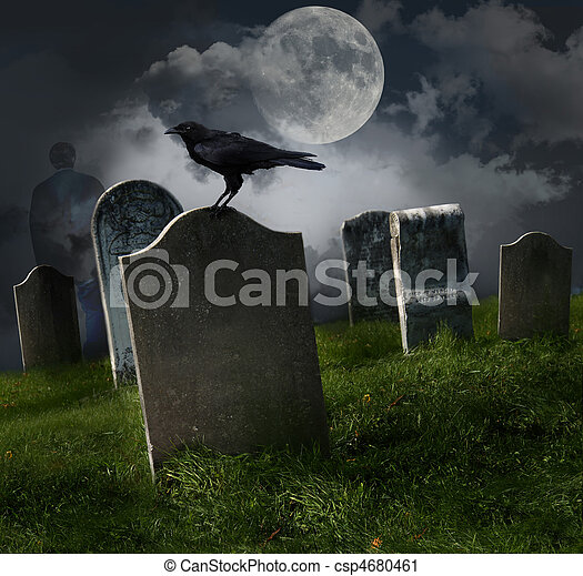 Cemetery with old gravestones and moon - csp4680461
