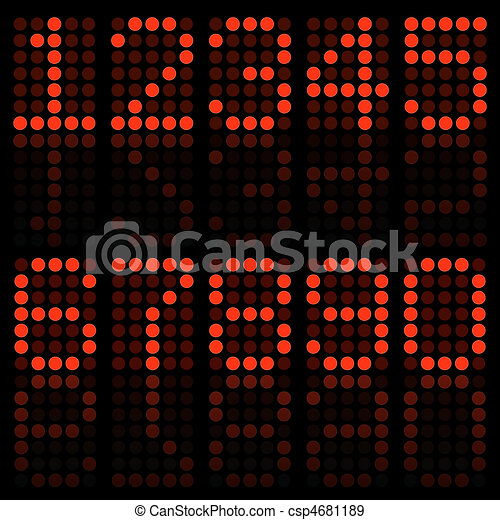 Image of numbers in a red digital font. - csp4681189