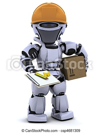 robot in hardhat with clipboard - csp4681309
