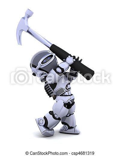 robot with hammer - csp4681319