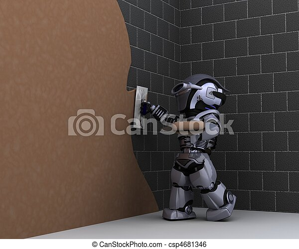 robot contractor plastering a wall - csp4681346