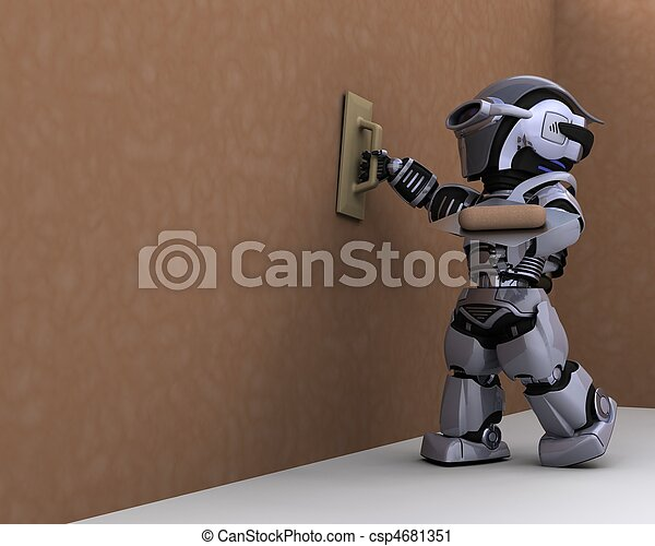 robot contractor plastering a drywall - csp4681351
