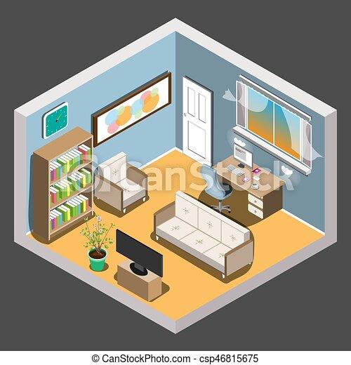 Vector isometric room. - csp46815675