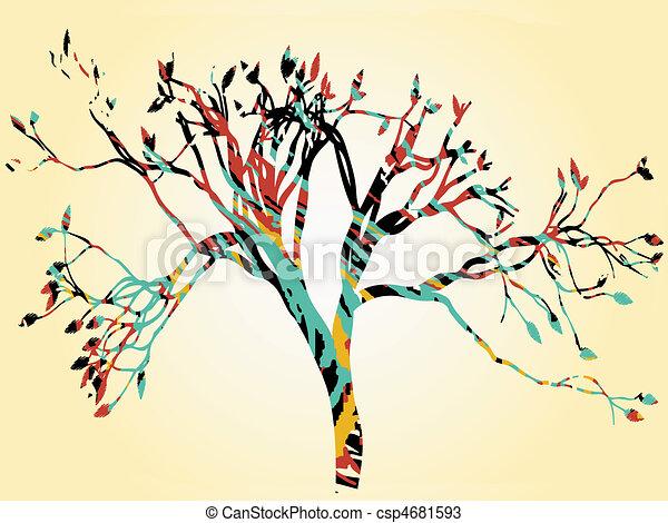 Colorful retro tree tan gradient bo - csp4681593