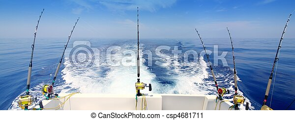 boat fishing trolling panoramic rod and reels blue sea - csp4681711