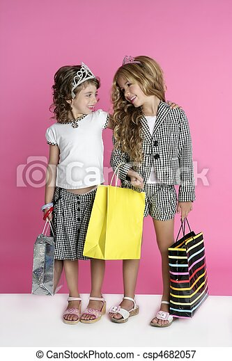 Little shopper humor shopaholic girls - csp4682057