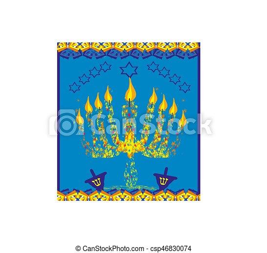 hanukkah menorah abstract card - csp46830074