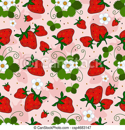 Pink repeating pattern with a strawberry - csp4683147