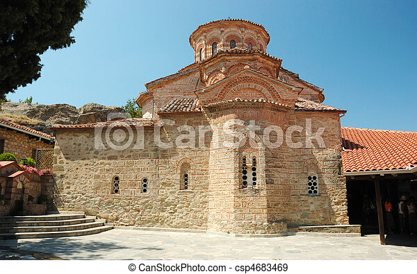 Church of Roussanou monastery, Meteora, Greece, Balkans, meteora complex is famous greek unesco heritage site - csp4683469