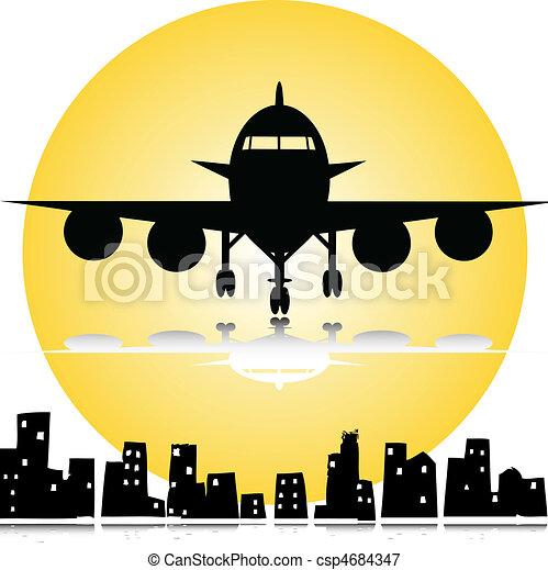 airplane under the city - csp4684347