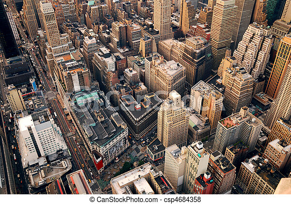 New York City street aerial view - csp4684358