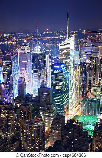 Times Square aerial view at night - csp4684366