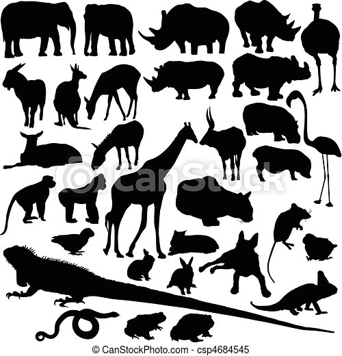 animal wild vector silhouettes - csp4684545