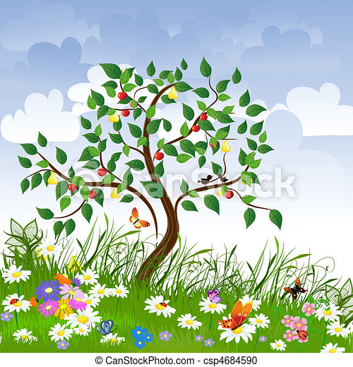 Flower clearing with fruit trees - csp4684590