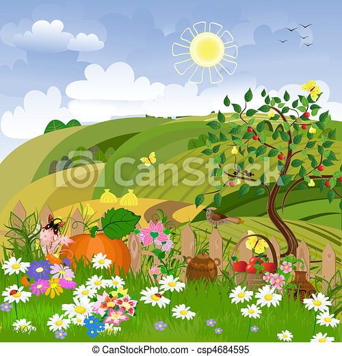 Rural landscape with fruit trees - csp4684595