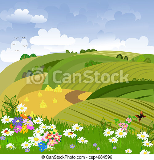 Rural landscape with flower meadow - csp4684596