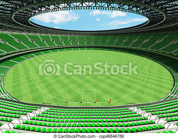 3D render of a round Australian rules football stadium with green seats and VIP boxes for fifty thousand fans