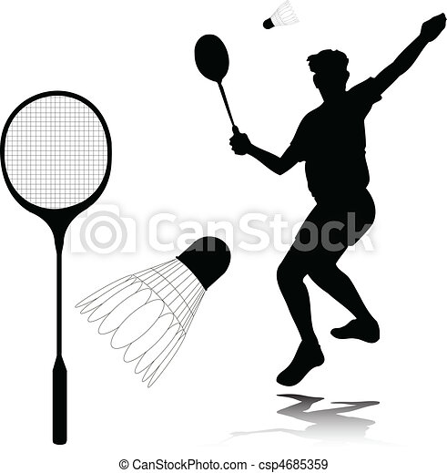 badminton player vector silhouettes - csp4685359