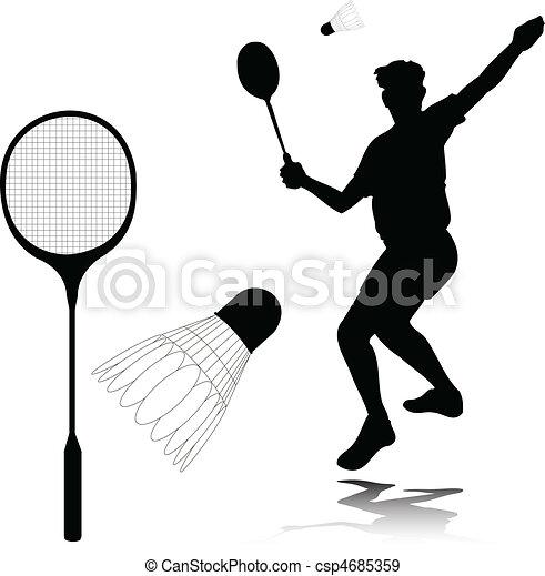 badminton player vector silhouettes - csp4685359