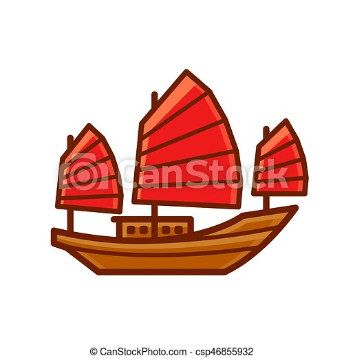 Chinese Junk Boat Icon - csp46855932