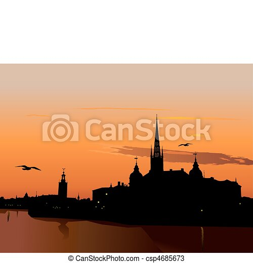 Silhouette of Stockholm at sunset - csp4685673