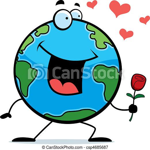 Ilustraciones vectoriales de tierra, flor - Un, feliz, caricatura ...