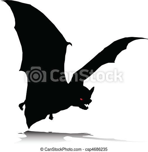 bat alone vector silhouettes - csp4686235