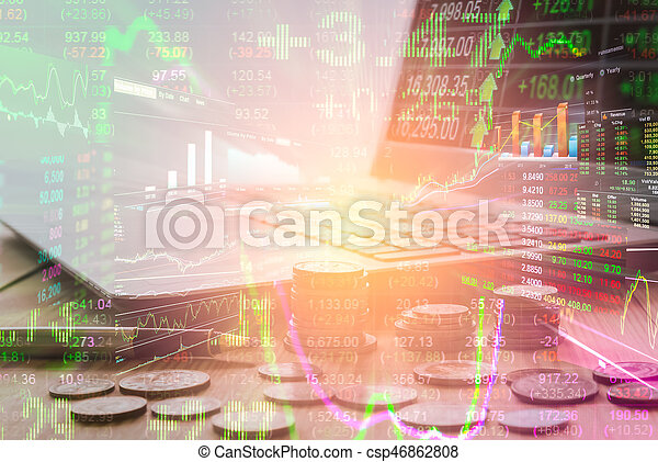 Double exposure business accessory on financial statistic data. Stock market financial data on LED. Economy return earning. Stock market overview in market economy. Economy statistic background.