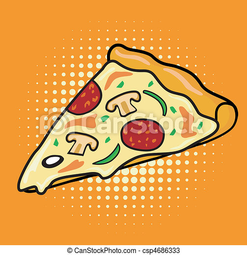 Pop art slice of Pizza - csp4686333