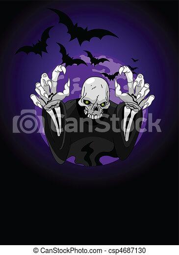 Halloween horrible Grim Reaper - csp4687130