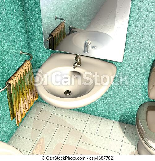 Clipart di bagno lavandino specchio 3d for Specchio bagno 3d