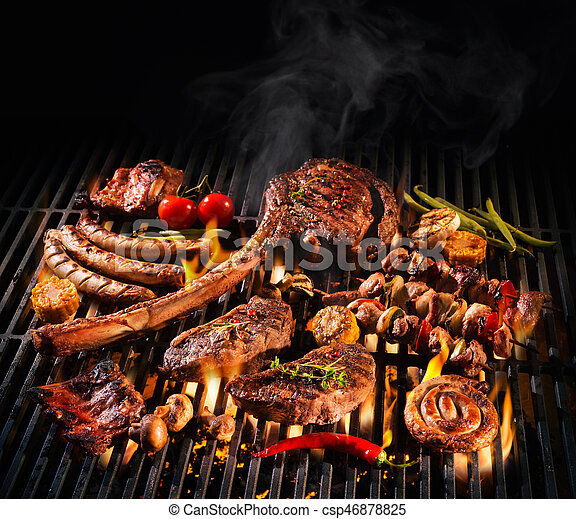Assorted delicious grilled meat on a barbecue - csp46878825